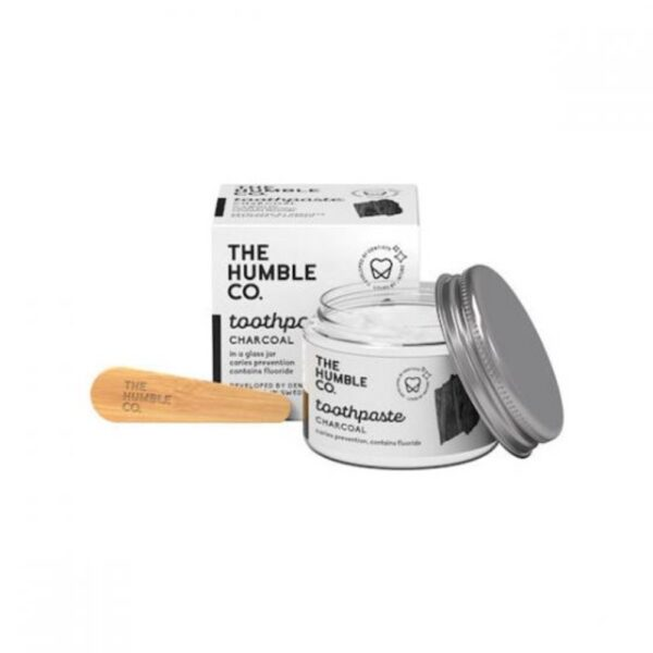 the humble co. toothpaste in glass jar charcoal with fluoride 50ml 1